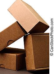 箱, 上に, 灰色, 背景, ., スタジオの 打撃