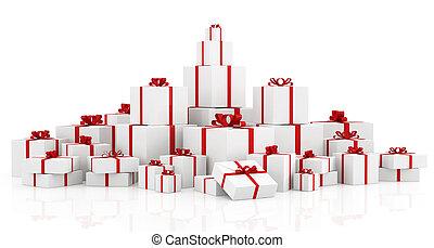 箱, 上に, 白, 贈り物