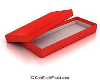 箱, 上に, 隔離された, wh, 空, 開いた, 赤