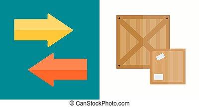 箱, 交通機関, illustration., 出荷, ベクトル, 引っ越し