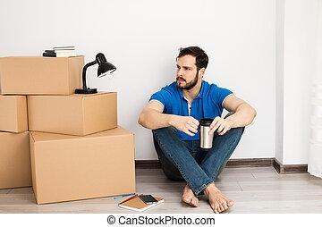 箱, 人, パッキング, あること, 床