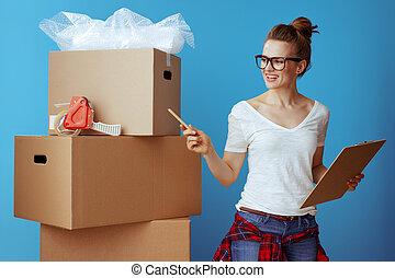 箱, 使うこと, 箱, 数えなさい, チェックリスト, ボール紙, 引っ越し, 女