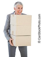 箱, 保有物, 女性実業家, ボール紙, 幸せ