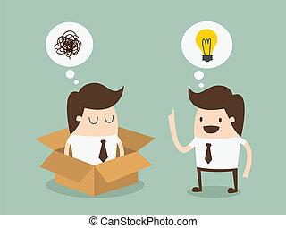 箱, 側面 から, 考えなさい