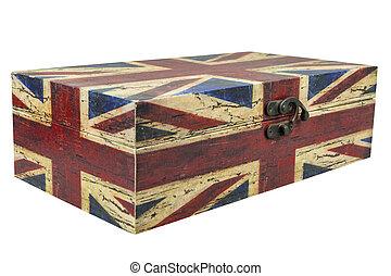 箱, 切り抜き, 型, 隔離しなさい, 英国の旗, 背景, 白, path.
