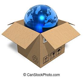 箱, 地球の 地球, ボール紙
