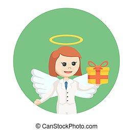 箱, 天使, 贈り物, 女性実業家, 背景, 円