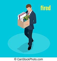 箱, 失業, 等大, 概念, 失業者, 彼女, 人々, もの, 仕事, 退けられた, 解雇, 縮小, 届く, ベクトル, イラスト, 3d, 従業員, 悲しい, 人
