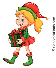 箱, 女の子, 保有物, プレゼント