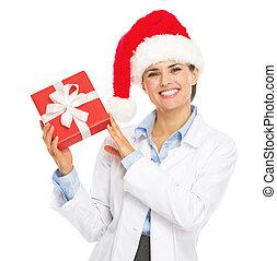 箱, 女性の医者, 提示, サンタの 帽子, クリスマスプレゼント, 幸せ