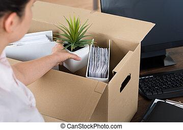 箱, 女性実業家, パッキング, ボール紙, 所有物
