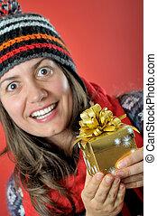 箱, 女, 若い, プレゼント, クリスマス