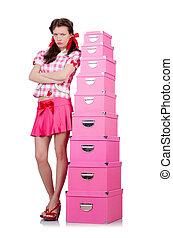 箱, 女, 貯蔵, 若い, 白