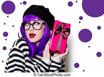 箱, 女, 贈り物, ガラス