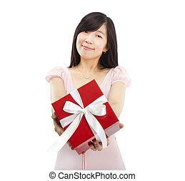 箱, 女, 贈り物, 若い, アジア人, 保有物, 微笑