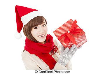 箱, 女, 贈り物, 若い, クリスマス, 幸せ