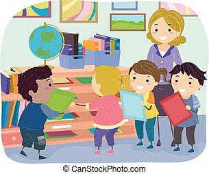 箱, 子供, stickman, 割り当て, メール, クラス