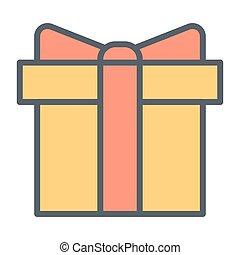 箱, 完全, 贈り物, pictogram, 単純である, 48x48., ベクトル, 薄いライン, ピクセル, 最小である, アイコン