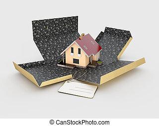 箱, 家, イラスト, 背景, 白, ボール紙, 開いた, 3d