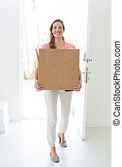 箱, 家, 新しい, 届く, 女, ボール紙