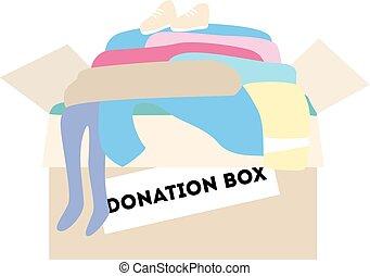 箱, 寄付, clothes.