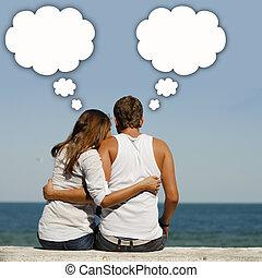 箱, 対話, ロマンチックな カップル, 若い, 海岸, それら, の上, 海, 幸せ