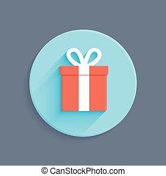 箱, 平ら, スタイル, 贈り物, ベクトル, アイコン