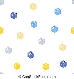 箱, 平ら, パターン, seamless, ベクトル, カートン