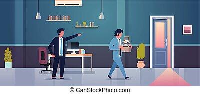 箱, 平ら, 概念, ドア, 発射される, 指すこと, 失業, 解雇, 現代, マレ, 上司, 従業員, ペーパー, 指, 人, 内部, 却下する, 横, オフィス, 文書, 失業者
