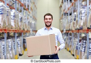 箱, 幸せ, 小包, 倉庫, ボール紙, 人