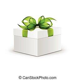 箱, 広場, 贈り物, ライト, 隔離された, 弓, ベクトル, 緑の背景, 白いリボン