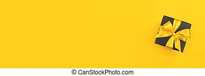 箱, 弓, 贈り物, 黄色, 黒, バックグラウンド。