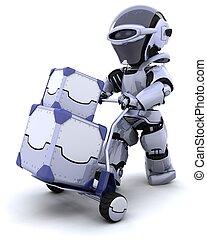 箱, 引っ越し, ロボット, 出荷
