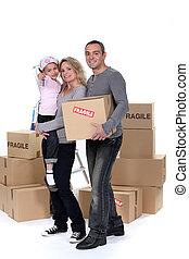 箱, 引っ越し, 若い 家族