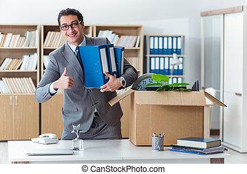 箱, 彼の, オフィス, 引っ越し, 所有物, 人