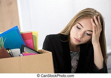 箱, 彼女, オフィス, モデル, 労働者, 若い, 退けられた, 女性, 所有物, カートン