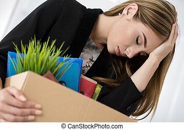 箱, 彼女, サラリーマン, 若い, 退けられた, 女性, 保有物, 所有物, カートン