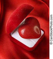 箱, 心, ビロード, 贈り物, concept., バレンタイン, 赤