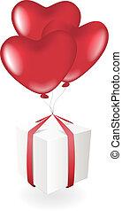 箱, 心, 風船, 贈り物