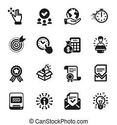 箱, 技術, purpose., ターゲット, セット, 大使, アイコン, そのような物, ブランド, ベクトル, ...