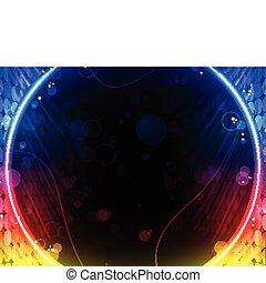 箱, 抽象的, ディスコ, 黒い背景, 円