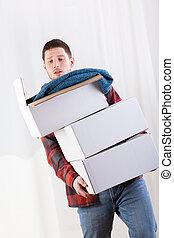 箱, 持つ, 問題, 人