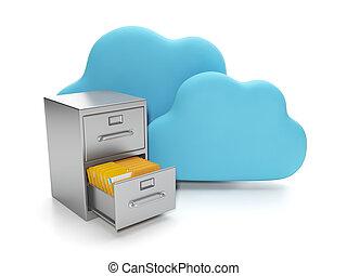 箱, 文書, グループ, 貯蔵, 計算, servers., 雲, データ, 雲