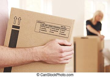 箱, 新しい, 届く, 終わり, 家, 人
