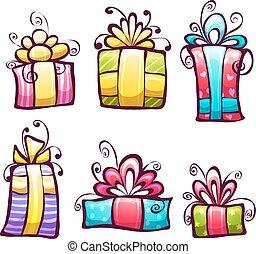 箱, 明るく, セット, 贈り物, ベクトル, 漫画