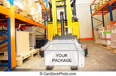 箱, 映像, 棚, パッケージ, フォークリフト, 図画, 倉庫, 結合された, パレット, 内部, 分配, ラック
