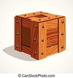 箱, 木製である, イラスト, ベクトル, 漫画, アイコン