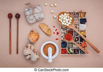 箱, 木製である, バックグラウンド。, 心配, 乾かされた, 健康, 選択肢, ハーブ, マルメロ, 中国語, 様々, ロータス, モルタル, スプーン, 種, ブラウン