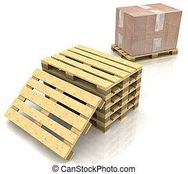 箱, 木製である, ボール紙, パレット
