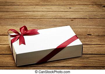 箱, 木, 赤, ギフトの弓